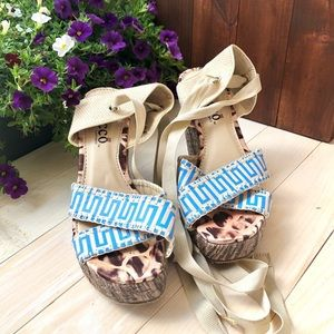Bucco Lace Up Espadrille Wedge Sandals Size 6